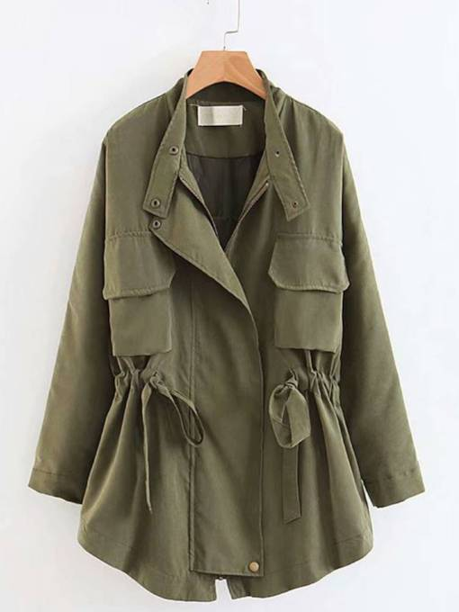 Drawstring Tight Waist Vintage Women's Trench Coat
