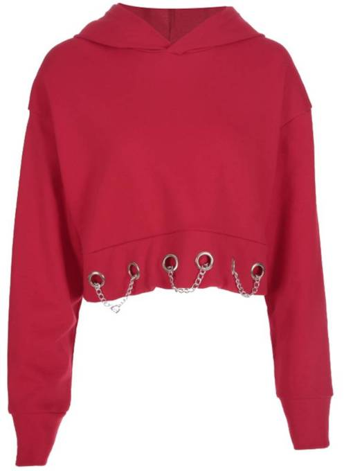 Key Hole Solid Color Chain Women's Cropped Hoodie