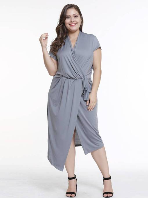 Plus Size Short Sleeve Casual Split Day Dress