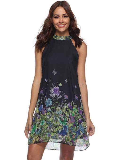 Stand Collar Floral Prints Day Dress