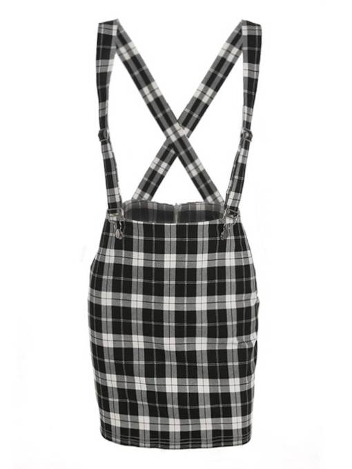 Plaid Cross Bodycon Women's Suspender Skirt