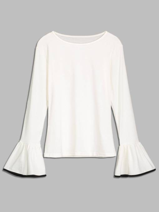 Flare Sleeve Solid Color Women's Thin Sweater