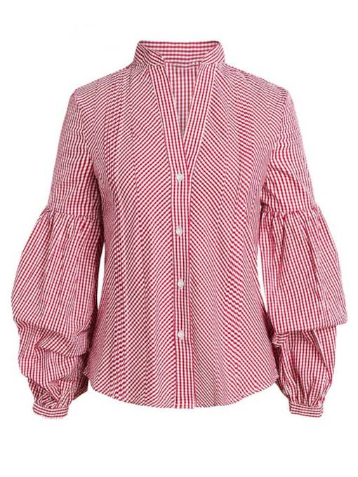 Puff Sleeve V Neck Button Down Plaid Women's Shirt