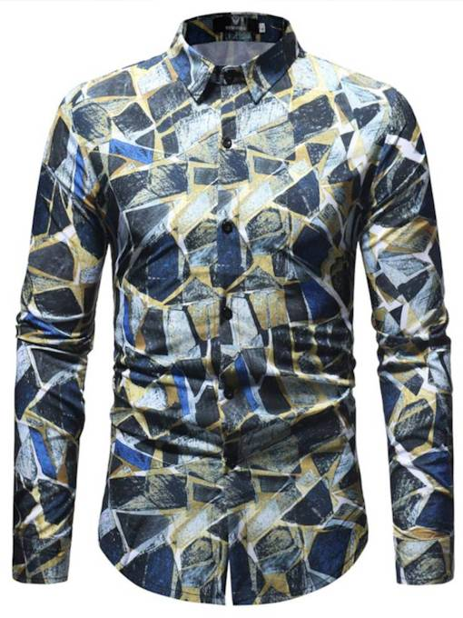 Lapel Patchwork Color Block Print Men's Leisure Shirt