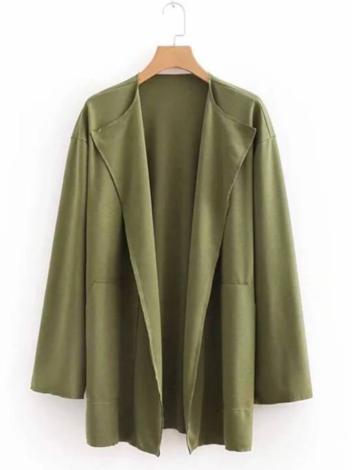 Lapel Solid Color Wide Pocket Women's Trench Coat