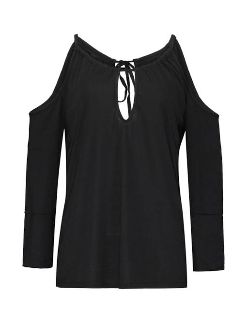 Cold Shoulder Long Sleeve Hollow Out Women's Blouse