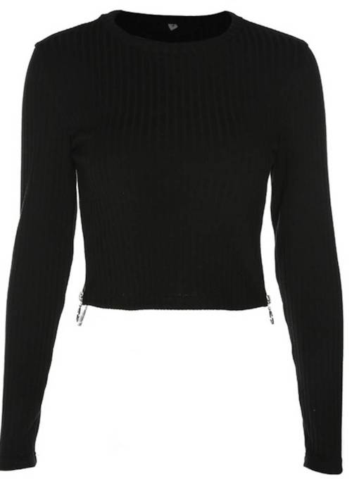 Cropped Solid Color Slim Women's Mock Neck Sweater