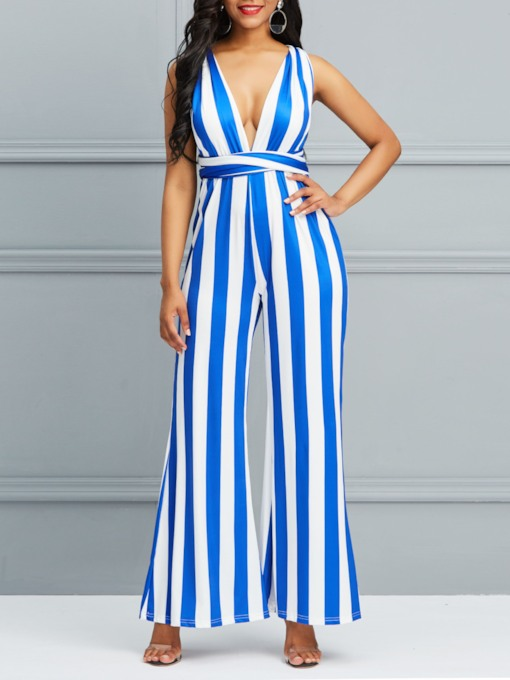 Sexy Full Length Backless Stripe Slim Women's Jumpsuits