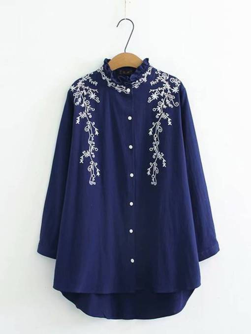 Frilled Stand Collar Mid Length Embroidery Women's Shirt