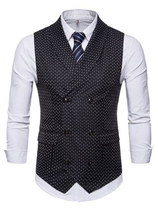 Double-Breasted England Style Shirt and Vest Men's Two Piece Suit