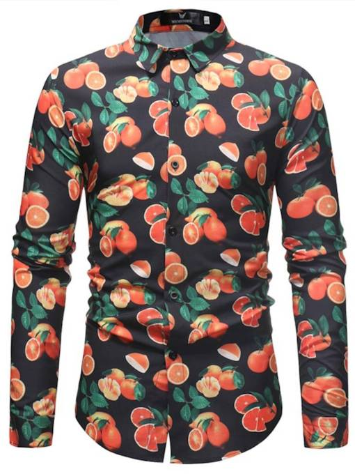 Orange Print Lapel Men's Leisure Shirt