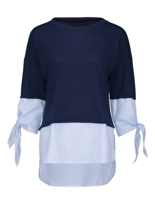 Double-Layered Color Block Women's Mock Neck Sweater