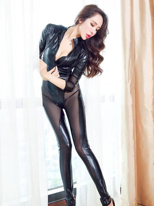 Long Sleeve See-Through Zipper Patent Leather Costume