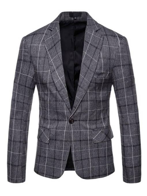 One Button Plaid Slim Men's Blazer