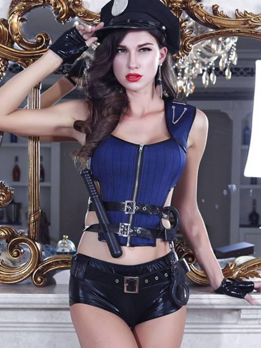Hollow Zipper Short Sexy Military Cop Costume