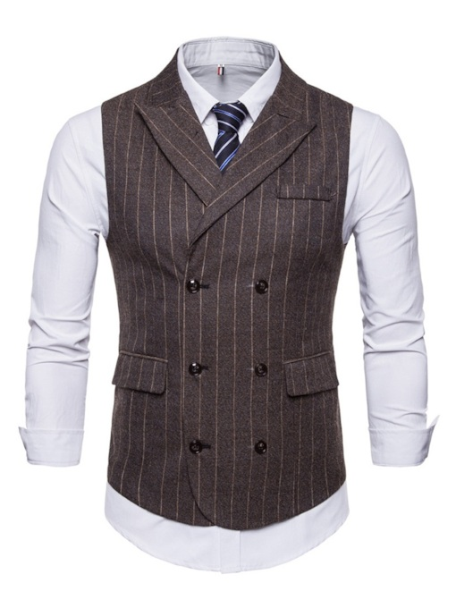 Stripe England Style Shirt and Vest Two Piece Men's Suit