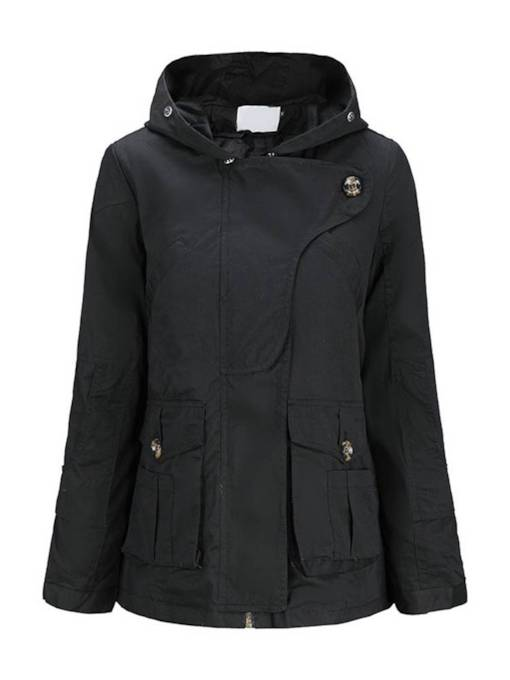 Drawstring Hooded Wide Pocket Women's Cotton Padded Jacket