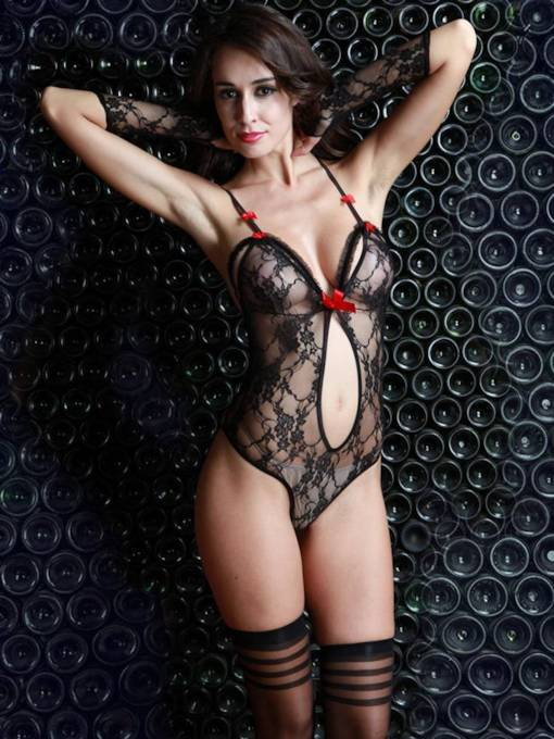 Mesh Bowknot Dance Costume Sexy Teddy
