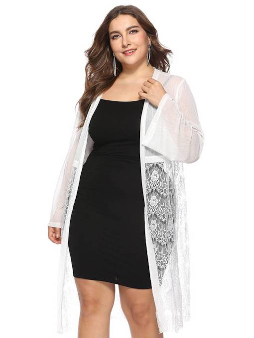 Lace Open Front Plus Size Hollow Out Women's Cardigan