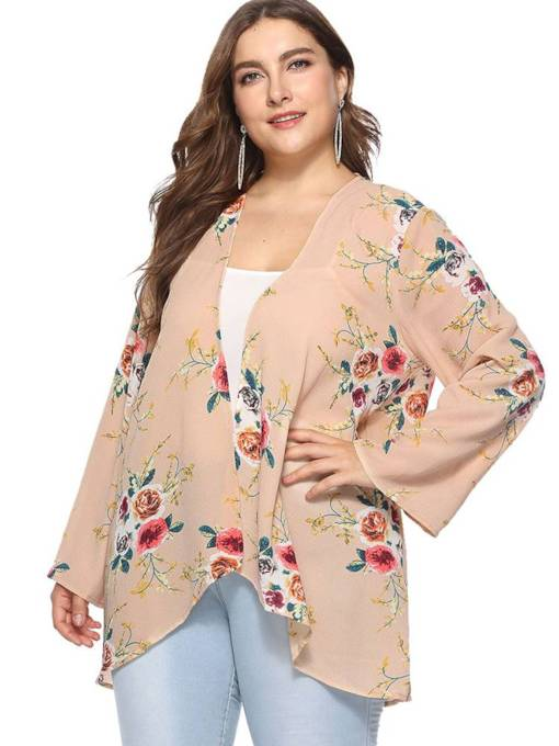 Open Front Floral Plus Size Women's Cardigan