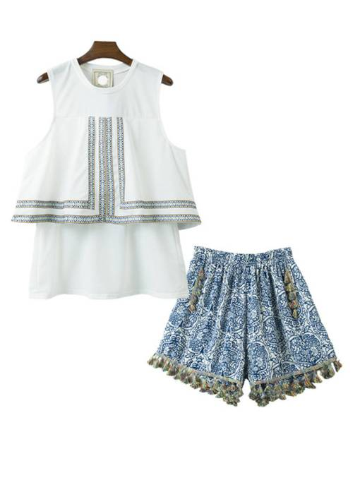 Floral Tassel Vest and Shorts Women's Two Piece Set