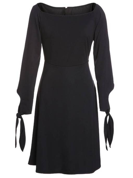 Black Round Neck A-Line Elegant Day Dress