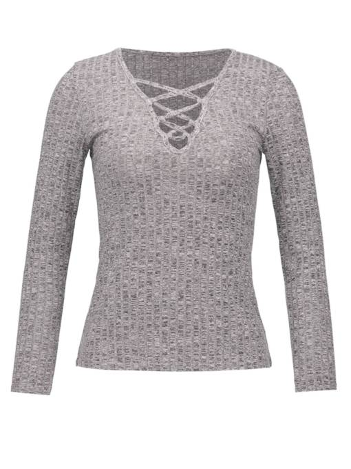 Criss Cross Round Neck Solid Color Women's Sweater