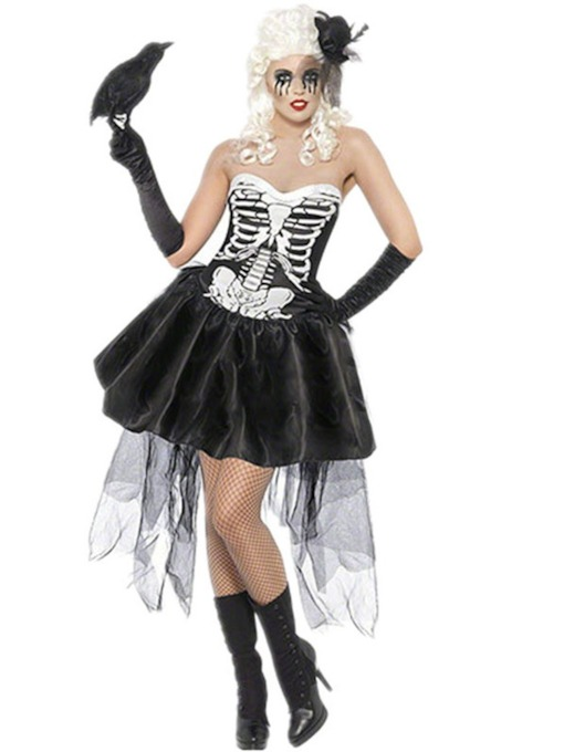 Skull Asymmetric Scary Classic Halloween Costume