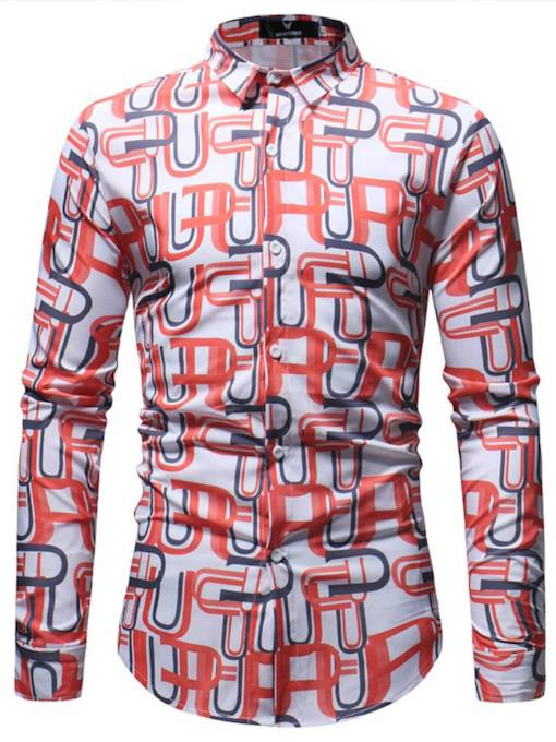 Lapel Pattern Print Leisure Men's Shirt