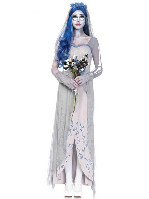 Asymmetric Print Ghost Bride Halloween Costume
