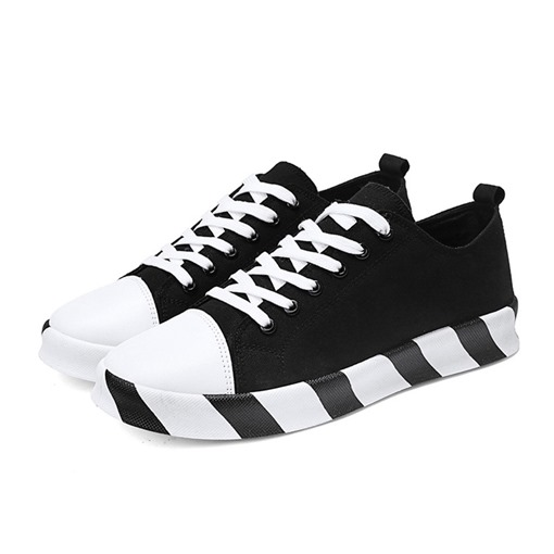 Lace-Up Round Toe Low-Cut Canvas Trendy Men's Shoes