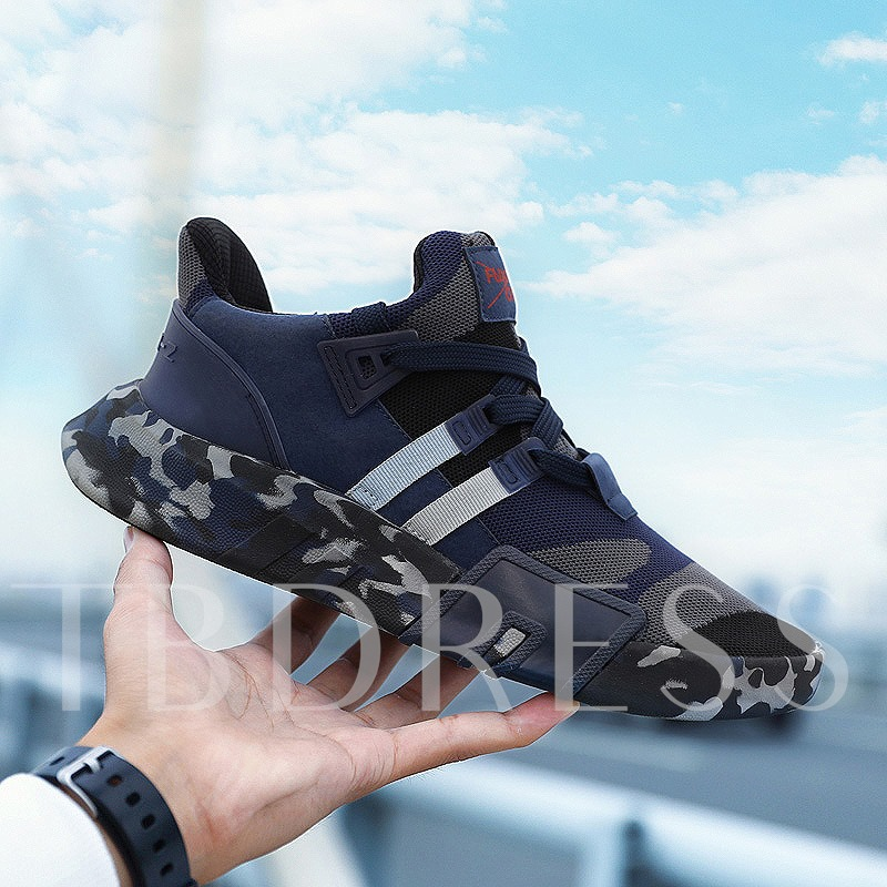 Lace-Up Mesh Round Toe Camouflage Stylish Men's Trainers