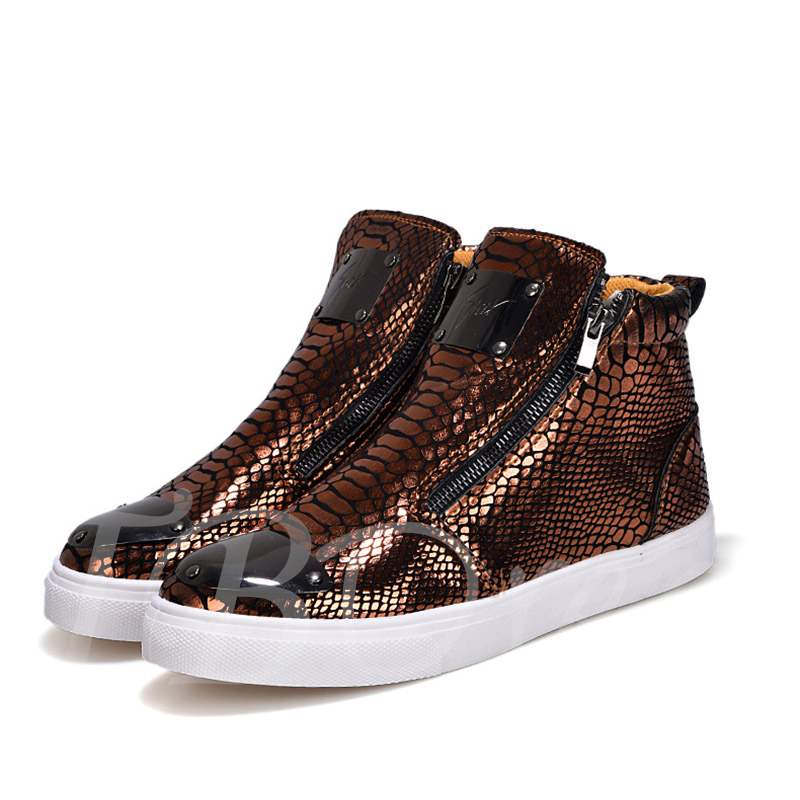Zipper Round Toe Sequin Serpentine High Top Men's Sneakers