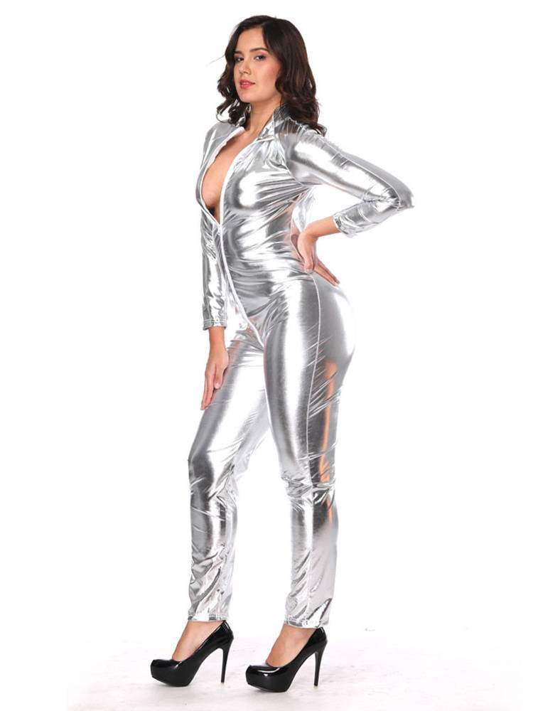 Zipper Long Sleeve Onesies Patent Leather Costume