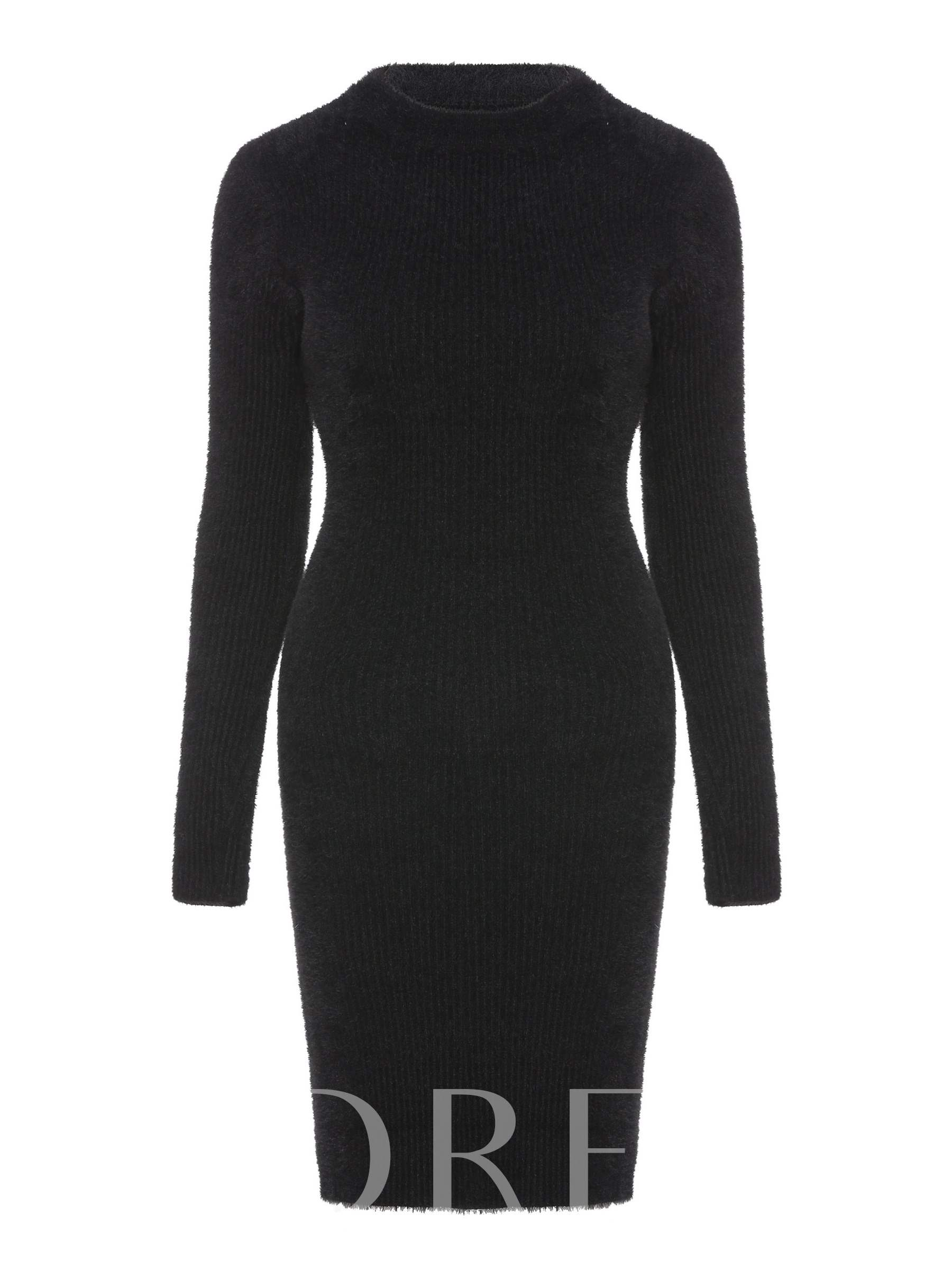 Buy Round Neck Long Sleeve Knit Sweater Dress, Spring,Summer,Fall, 13381255 for $23.84 in TBDress store