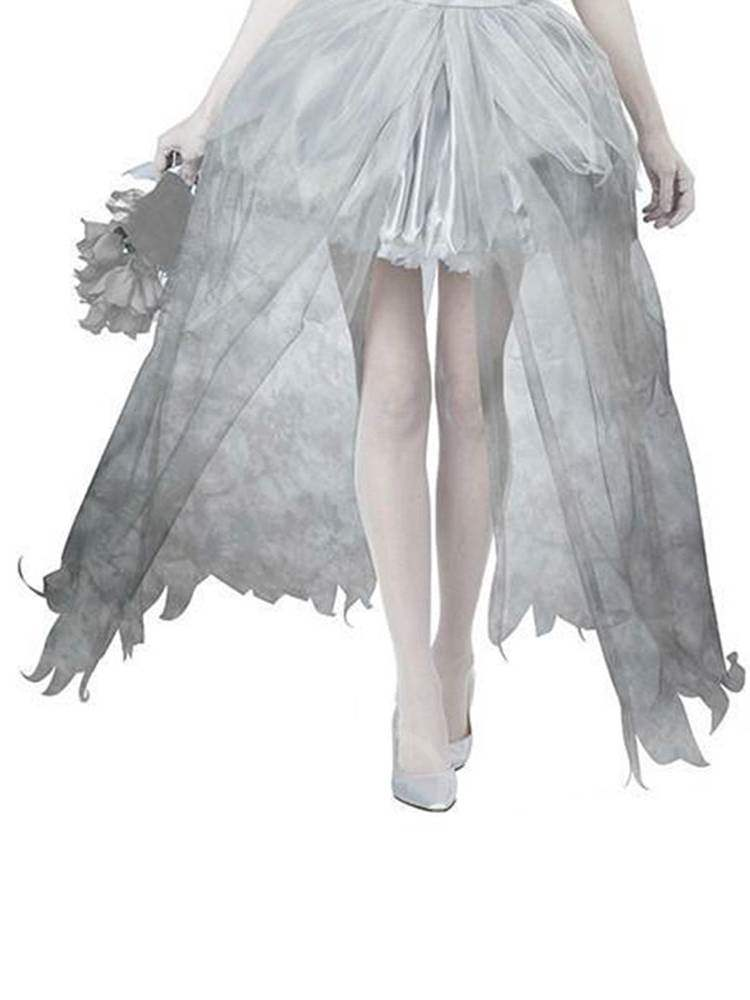 Western Asymmetric Mesh Bride Scary Halloween Costume