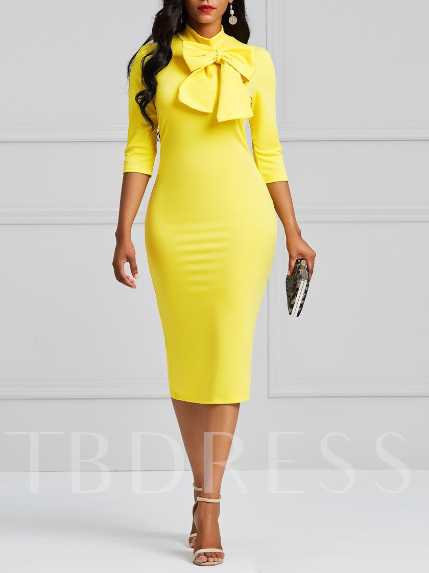 Half Sleeve Plain Bowknot Women's Bodycon Dress