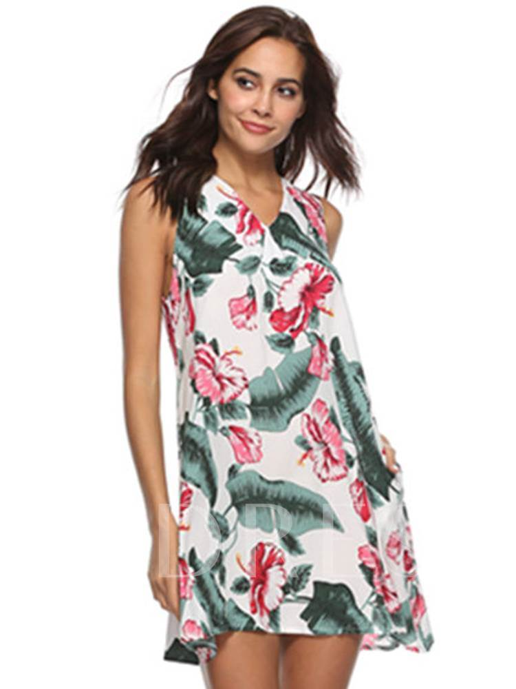 V-Neck Floral Prints Casual Day Dress