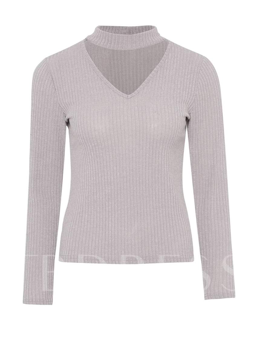 Choker Solid Color Slim Fit Women's Sweater