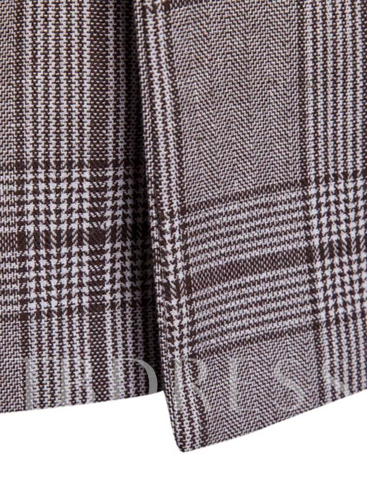 Double Button Plaid Classic Men's Blazer