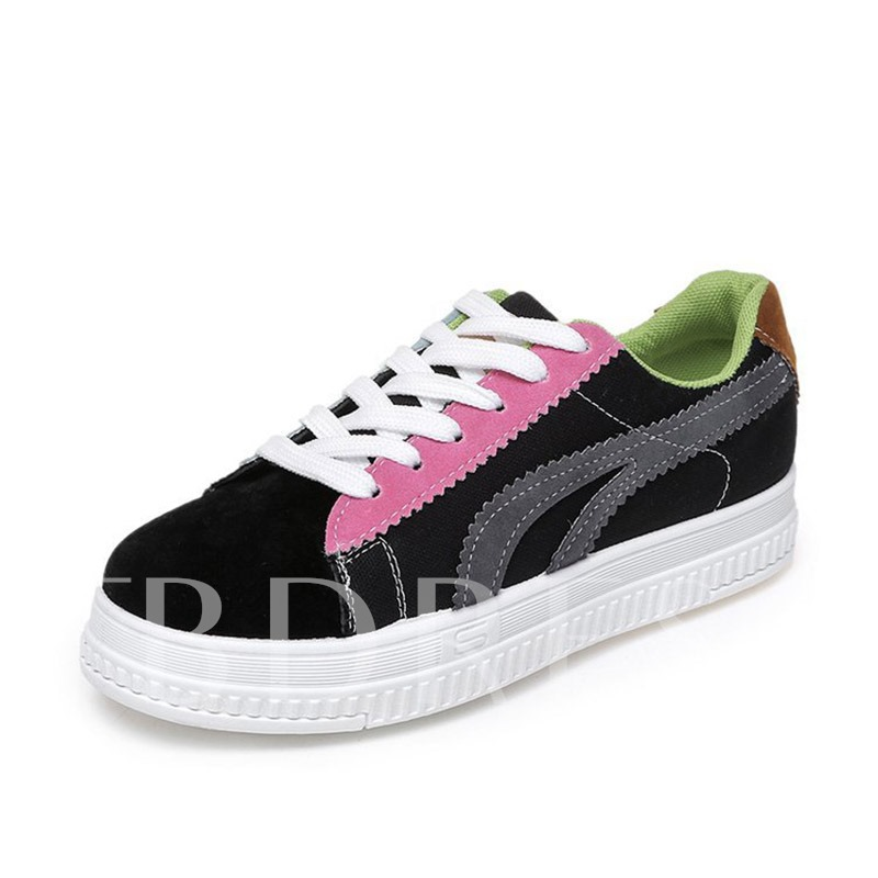 Buy Lace-Up Platform Patchwork Color Block Stylish Women's Sneaker, Spring,Summer,Fall, 13352469 for $28.13 in TBDress store