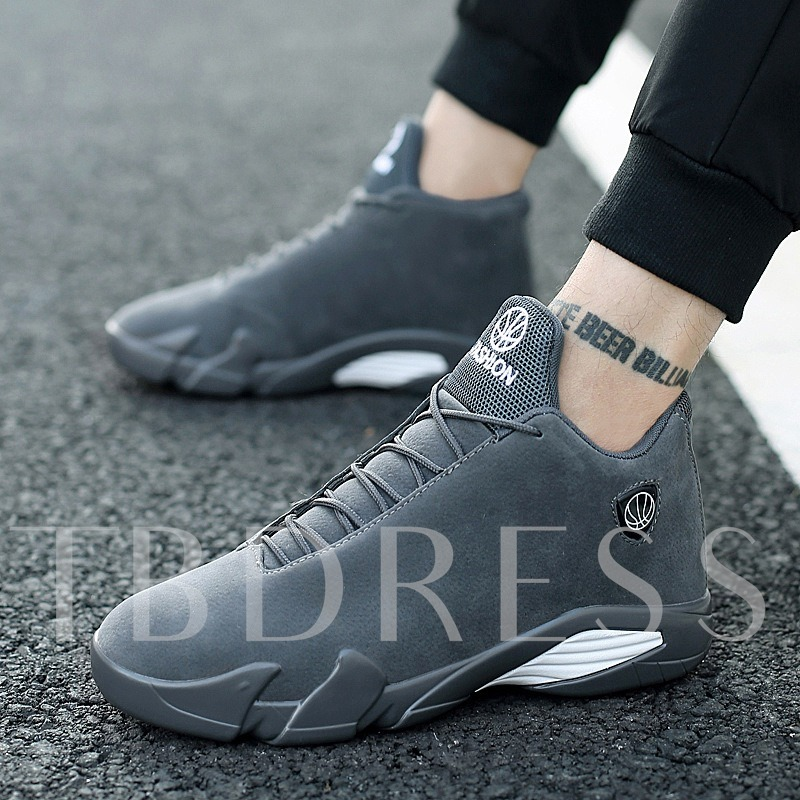 Mid-Cut Upper Mesh Lace-Up Round Toe Men's Sneakers