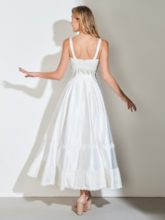 Straps Lace Ankle-Length Beach Wedding Dress