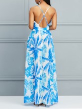 Sleeveless V-Neck Backless Prints Women's Maxi Dress