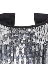 Stand Collar Sequins Women's Cropped T-shirt