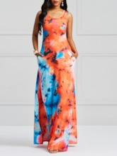 Sleeveless Tie-Dye Color Block Women's Maxi Dress