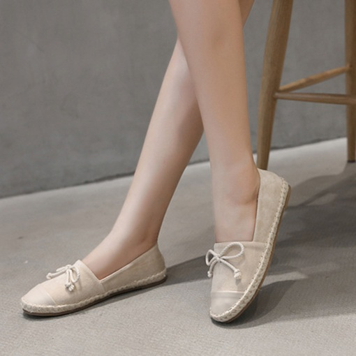 Slip-On Round Toe Bow Plain Comfy Women's Flats