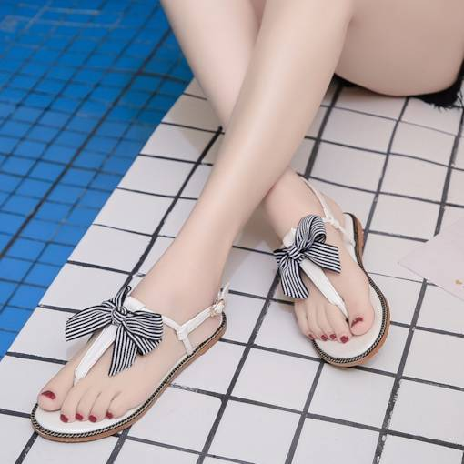 Block Heel Strappy Buckle Bow Trendy Flat Women's Sandals