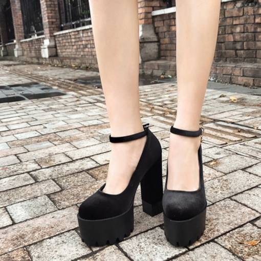 Line-Style Buckle Suede Round Toe Chunky Heel Banquet Women's Pumps