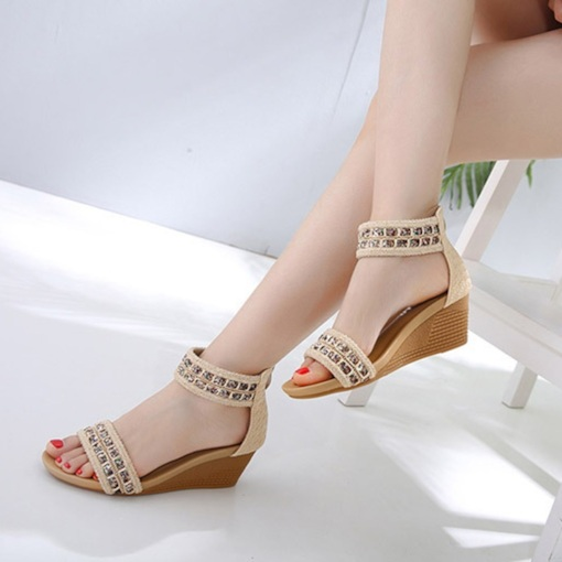 Wedge Heel Open Toe Zipper Ladylike Women's Sandals